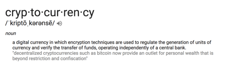 cryptocurrency word meaning