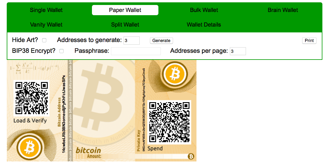 How to generate a bitcoin paper wallet