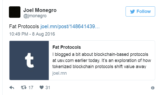Joel Monegro tweets